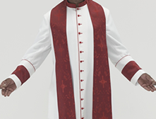 White polyester Roman Style cassock with red piping, red cloth covered buttons