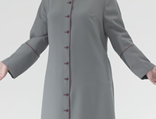 Dark grey polyester Roman style cassock with burgundy piping and burgundy cloth covered buttons. Embroidered burgundy small praying hands on each cuff and large praying hands on back. Five back pleats with piping on pleat edges