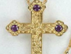 Gold plated Vine Design Cross with purple faceted stones
