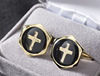 Gold plated/Black enameled cufflinks with inlaid gold plated cross