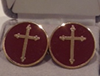 Enameled cuff links with Gold Budded Cross
