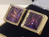 Gold plated purple square stone cuff links