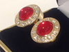 Gold Plated Red Oval Stone with Crystals Cuff links