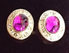 Gold Plated Cufflinks - Purple Oval Stone with Crystals