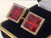 Gold plated red square stone cuff links