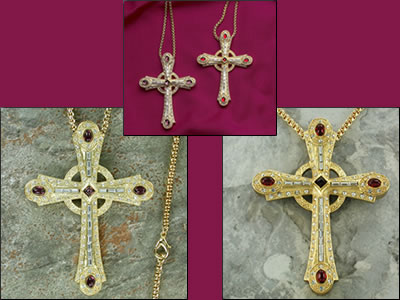 Gold plated cross with purple or red stones and crystals