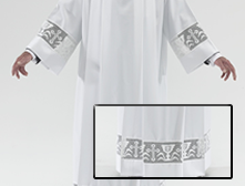 White polyester square neck Alb with Italian Chalice Lace